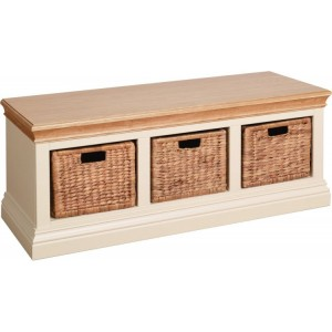 Lundy Painted Oak Furniture Hall Bench with Baskets