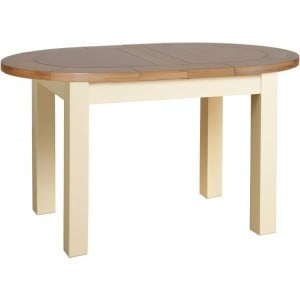Lundy Painted Oak Furniture Small D End Extending Dining Table
