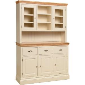 Lundy Painted Oak Furniture 4ft6 Glazed Dresser Top Only