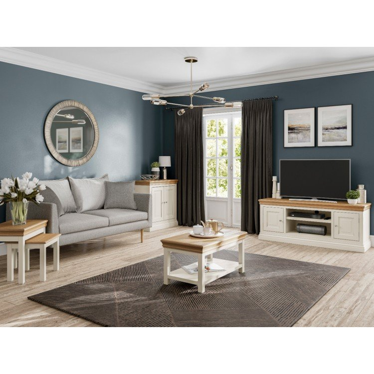 Lundy Painted Oak Furniture Nest Of, Painted Living Room Furniture