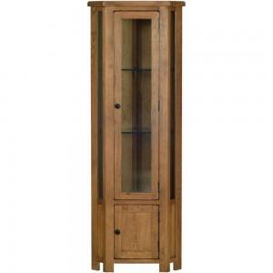 Devonshire Rustic Oak Furniture Glass Corner Display Cabinet