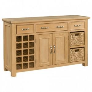 Devonshire Siena Oak Furniture Large Sideboard With Wine Rack