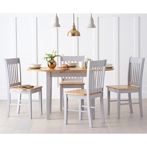 Alaska Oak & Grey Extending Dining Table and Chairs Set