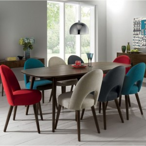 Bentley Designs Oslo Walnut Furniture 4-8 Seater Extending Dining Set With Fabric Chairs