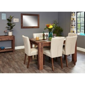 Mayan Walnut Furniture 6 Seater Dining Table With Cream Chairs Set