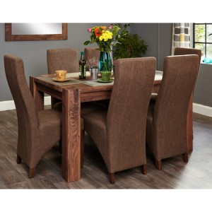 Mayan Walnut Furniture 6 Seater Dining Table & Hazelnut Chairs
