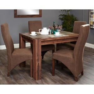 Mayan Walnut Furniture 4 Seater Dining Table & 4 Hazelnut Chairs