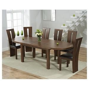 Cheyenne Oval Dark Oak Extending Table & Arizona Chair Set