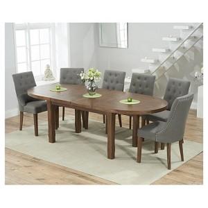 Cheyenne Oval Dark Oak Extending Table & Pailin Chair Set