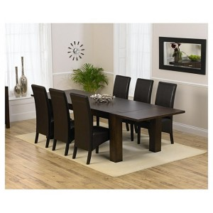 Madrid Dark Oak 200cm Extending Dining Table & Dakota Chair Set