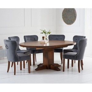 Turin Dark Oak 125 Extending Pedestal Table & Kalim Velvet Chair Set