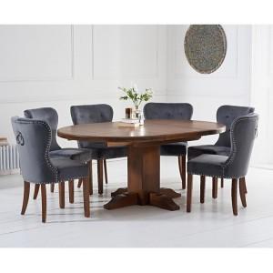Turin Dark Oak 125 Extending Pedestal Table & Kalim Velvet Chair Set