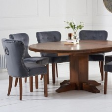 Oval & Round Dark Wood Dining Sets