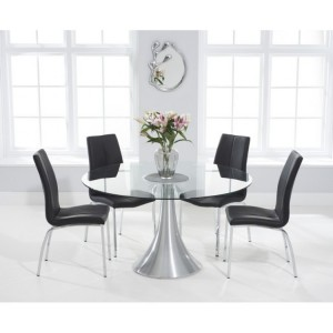 Petra 135cm Round Glass Furniture Dining Table & Carsen Chair Set