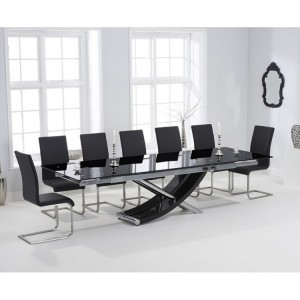 Hanover 210cm Glass Furniture Extending Malibu Chair Dining Set