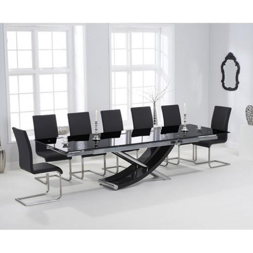 Hanover 210cm Glass Furniture Extending Malibu Chair Dining Set