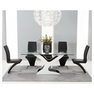 Natalie 180cm Black & White High Gloss & Glass Table & Hereford Set