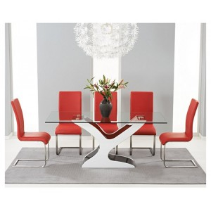 Natalie 180cm Black & White High Gloss & Glass Table & Malibu Set