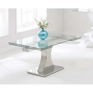 Amber Furniture 160cm Glass Extending Dining Table