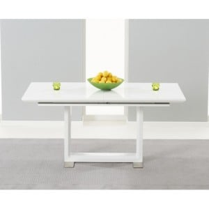 Beckley High Gloss Furniture White Extending Dining Table