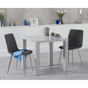 Ava 80cm High Gloss Light Grey Dining Table Hatfield Dining Set