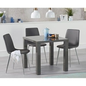 Ava 80cm High Gloss Dark Grey Dining Table Hatfield Dining Set