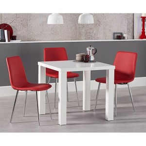 Ava 80cm High Gloss White Dining Table Hatfield Dining Set