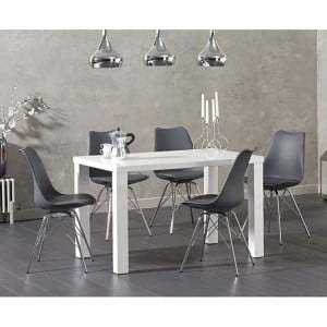 Ava 120cm High Gloss White Dining Table Calabasus Dining Set