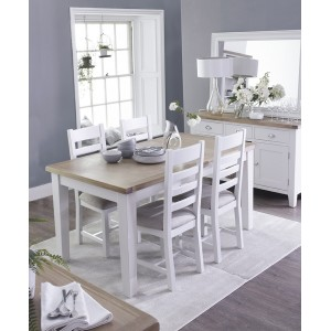 Tenby White 1.2m Extending Table & Fabric Seat Chairs