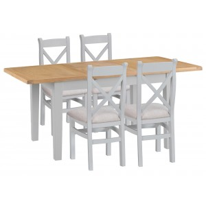 Tenby Grey Painted 1.2m Ext Table & X-back Fabric Chairs Set