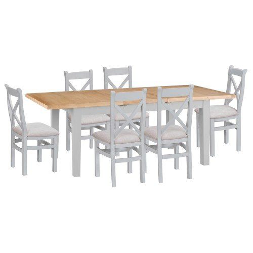 Tenby Grey Painted 1.6m Extending Table & Cross Back Fabric Chairs