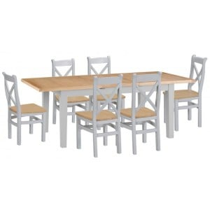 Tenby Grey Painted 1.6m Extending Table & Cross Back Chairs