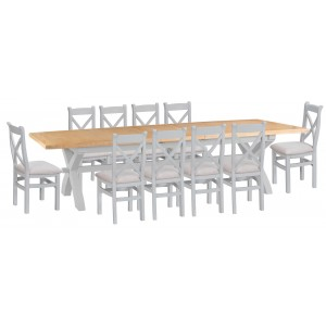 Tenby Grey 2.5m Cross Extending Table & X-back Fabric Chairs