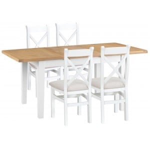 Tenby White 1.2m Extending Table & Fabric X-back Chairs