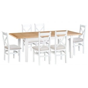 Tenby White Painted 1.6m Ext Table & Cross Back Fabric Chairs