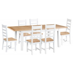 Tenby White Painted 1.6m Ext Table & Chairs Set