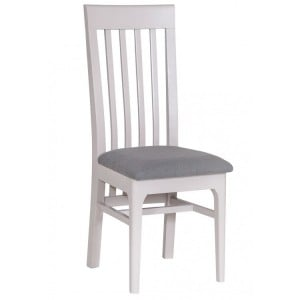 Manor House Stone Grey Slat Back Chair with Fabric Seat (Pair)
