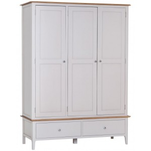 Manor House Stone Grey Painted Furniture Large 3 Door Wardrobe