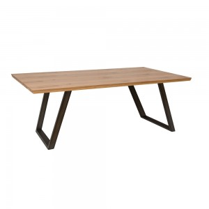 Metro Industrial Rustic Oak 1.8m Fixed Top Dining Table