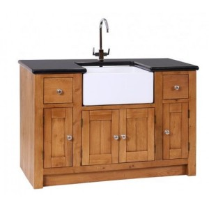 Evelyn Oak and Granite Kitchen Sink Unit with 4 Doors & 2 Drawers