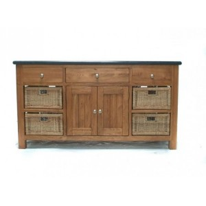 Evelyn Oak and Granite Kitchen Island with 3 Drawers and 2 Doors
