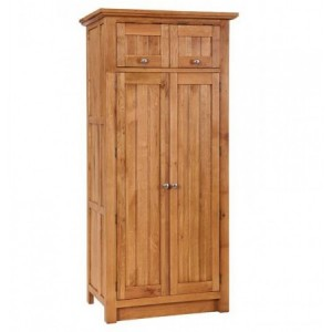 Evelyn Oak Kitchen Furniture Rectangular 4 Door Larder with Wine Rack