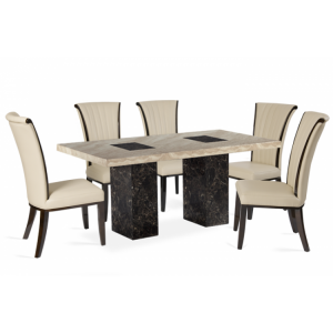 Bilbao 160cm Black & Cream Marble Dining Table & Almeria Chairs Set