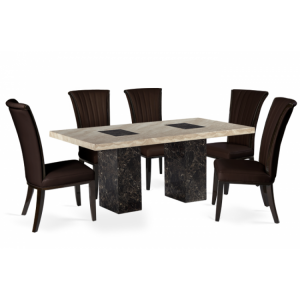 Bilbao 180cm Black & Cream Marble Dining Table & Almeria Chairs Set