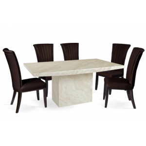 Coruna 180cm Marble Dining Table & Almeria Chairs Set
