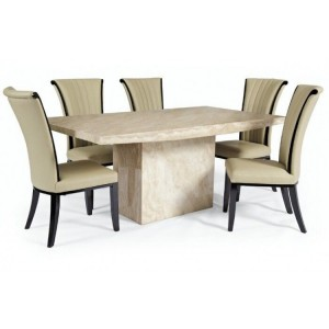 Coruna 160cm Cream Marble Dining Table & Almeria Chairs Set