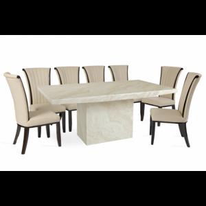 Coruna 220cm Cream Marble Dining Table & Almeria Chairs Set