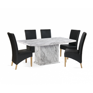 Caceres 160cm Marble Dining Table & Roma Chairs Set