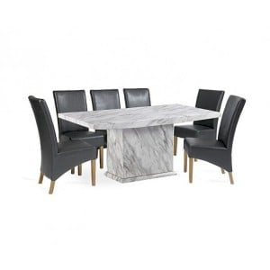 Caceres 180cm Marble Dining Table & Roma Chairs Set