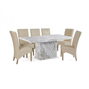 Caceres 220cm Marble Dining Table & Roma Chairs Set